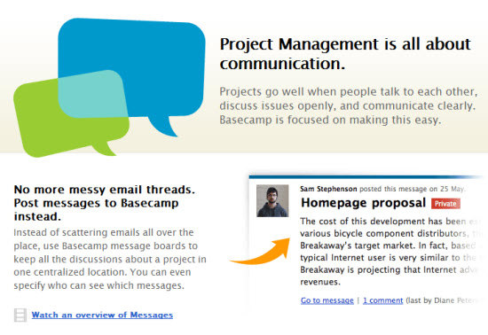 Basecamp Example Landing Page - project management